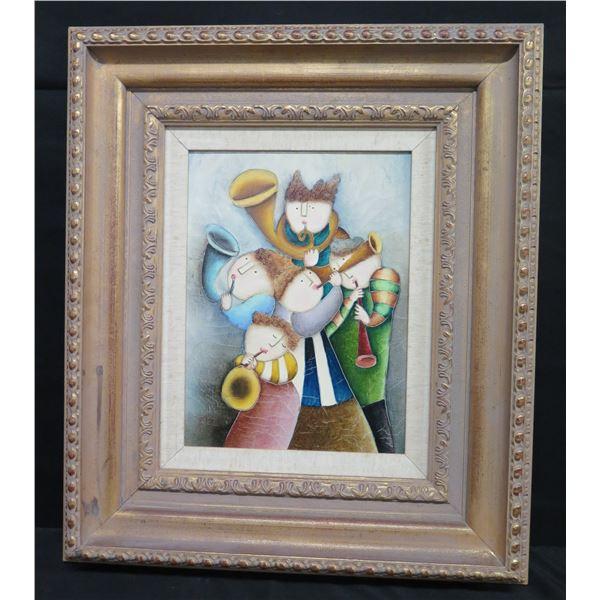 "Large Framed Painting on Canvas, Horn Quartet, Signed by Artist J. Roy Baz 24""x29"""