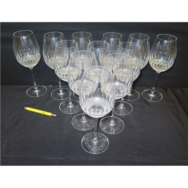 """Qty 12 Waterford Crystal Wine Glasses 10""""H"""