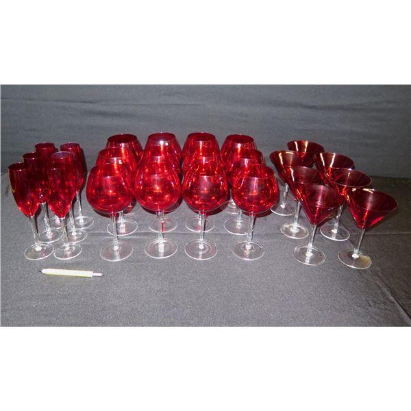 Qty 25 Stemmed Red Glassware: 12 Wine Glasses, 7 Martini Glass, 6 Champagne Flutes