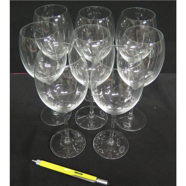 "Qty 8 Crystalline Stemmed Wine Glasses, Handmade in Slovenia 9""H"