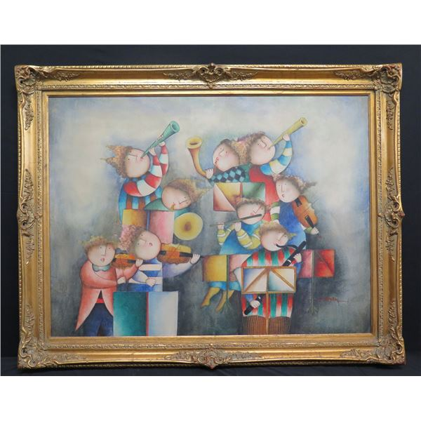 """Large Framed Painting on Canvas, Orchestra, Signed by Artist J. Roy Baz 56""""x44"""""""