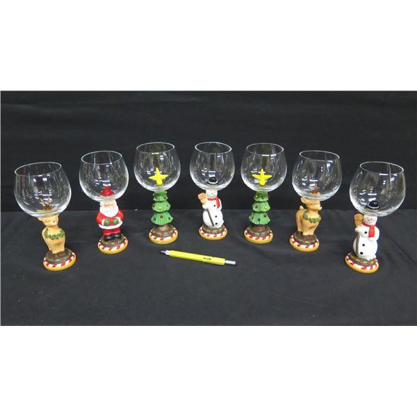 "Qty 7 Christmas Design Stemmed Glasses: Santa, Snowman, etc 8""H"