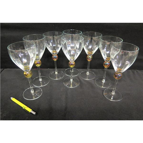 """Qty 8 Wine Glasses w/ Ball-Accented Stem 9""""H"""