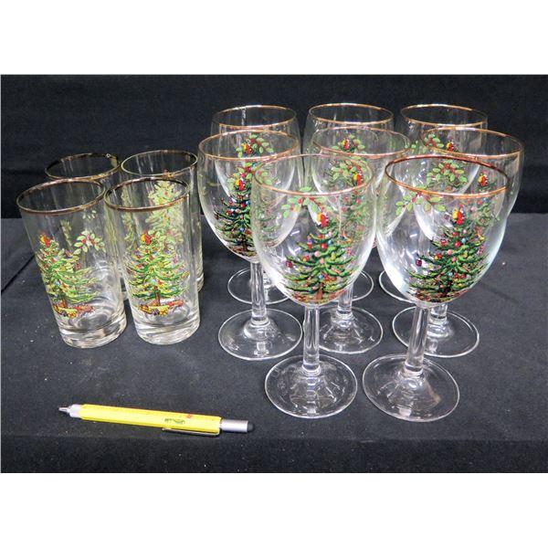 Christmas Themed Glassware: Stemmed Glasses & 4 Tumblers