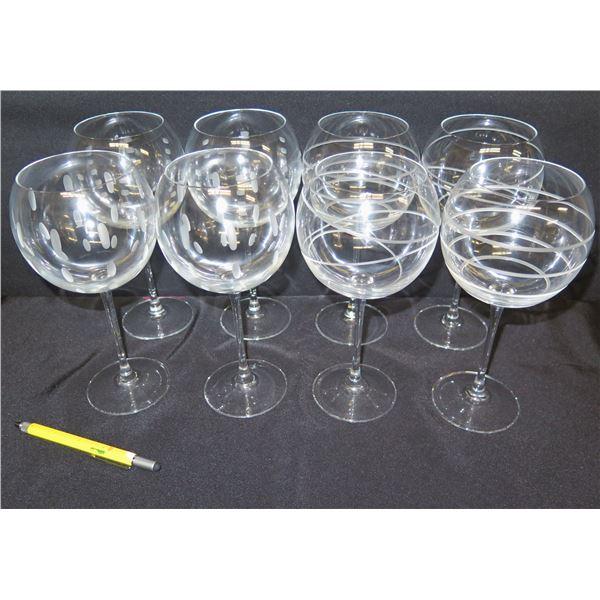 "Qty 8 Wine Glasses w/ Swirl & Dot Design 9""H"