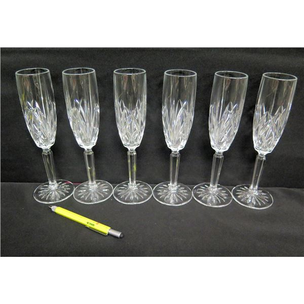 """Qty 6 Marquis by Waterford Crystal Champagne Flutes 9""""H"""