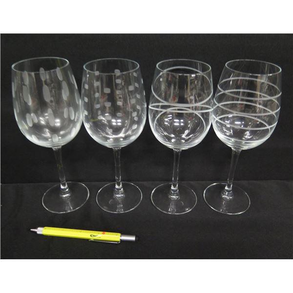 """Qty 4 Large Wine Glasses w/ Swirl & Dot Design 9""""H"""