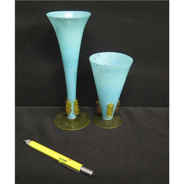 """Qty 2 Blue Footed Glass Vases w/ Colored Pedestal Base 5""""H & 8.5""""H"""