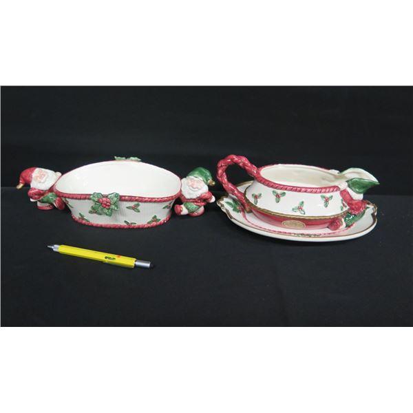 Qty 3 Fitz & Floyd Christmas Servingware: Santa Bowl & Gravy Boat