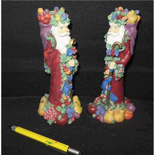 """Qty 2 Santa w/ Fruit Candleholders 8.5"""" Tall"""
