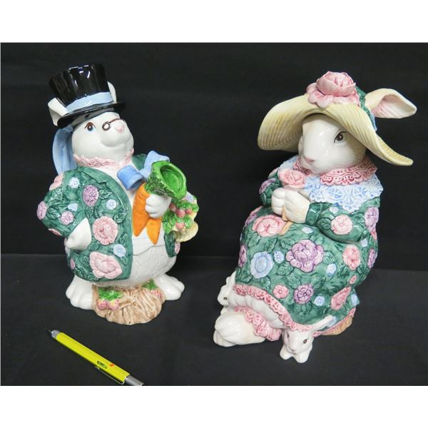 """Qty 2 Fitz & Floyd FF 1991 Rabbit Cream & Sugar Set, 11""""H"""