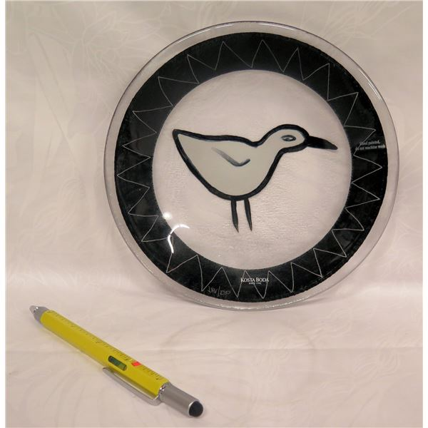 "Kosta Boda Art Glass Bird Plate, Signed DHV/DP 7"" Dia."