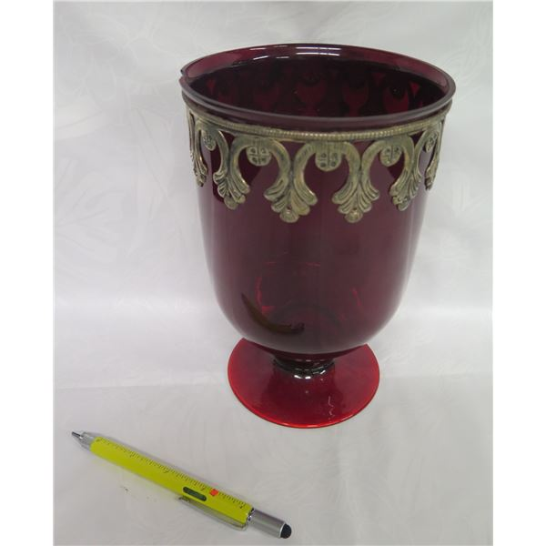 """Burgundy Glass Vase w/ Metal Accent, Made in India (cracked rim) 8.5""""H"""