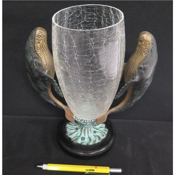"Whale Motif Crackle Glass Vase (Removable) 10""H"