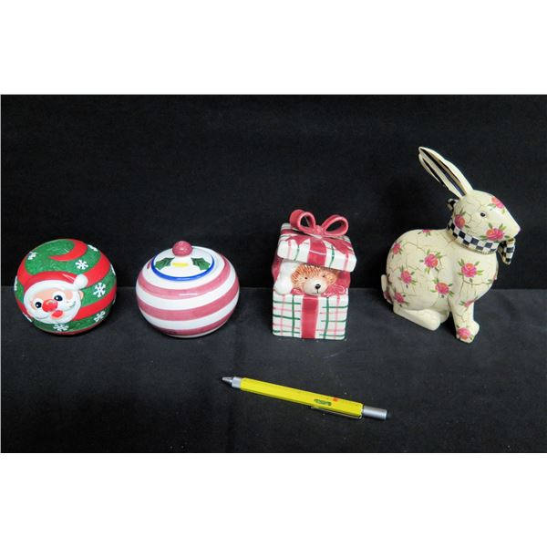 Glazed Porcelain: Italy Sugar Bowl, Fitz & Floyd Present, Mackenzie Child Rabbit, etc