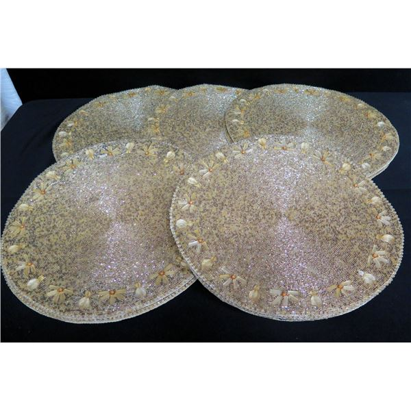 """Qty 5 Kim Seybert Round Beaded Placemats, Made in India 15"""" Dia."""