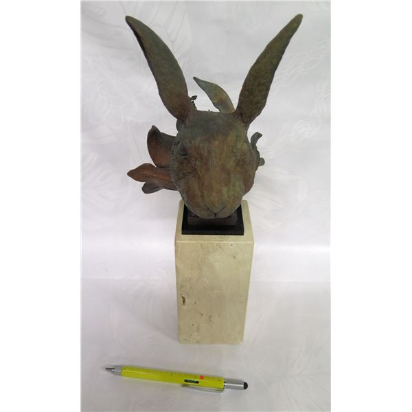 """Rabbit on Stone Base, Opens to Reveal Multiple Scenes (13""""H Inside)"""