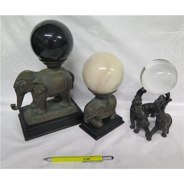 Qty 3 Elephant Figures w/ Removable Stone & Glass Orbs