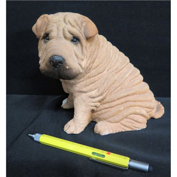 "Sandicast Shar-Pei Dog Figurine, Signed Sandra Brue 6""H"