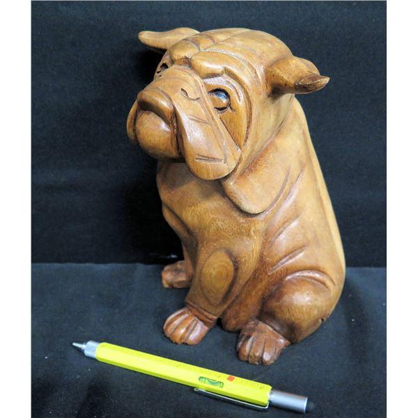 """Carved Wooden Dog 7""""H"""