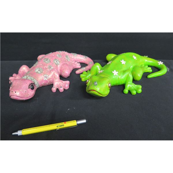 "Qty 2 Gecko Figures w/ Flower Design, by Alana Lehua Burrows 12""L"