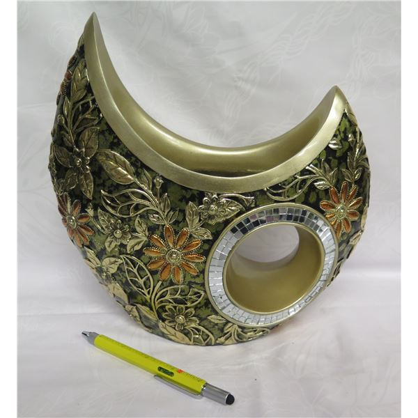 """Wantech Int'l OK Lighting Round Vase? w/ Raised Floral Overlay 11""""H"""