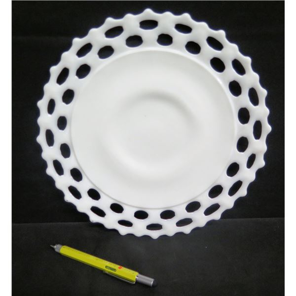 "Round Plate Marked 'AA' w/ Scalloped & Cut Out Border 11"" Dia."