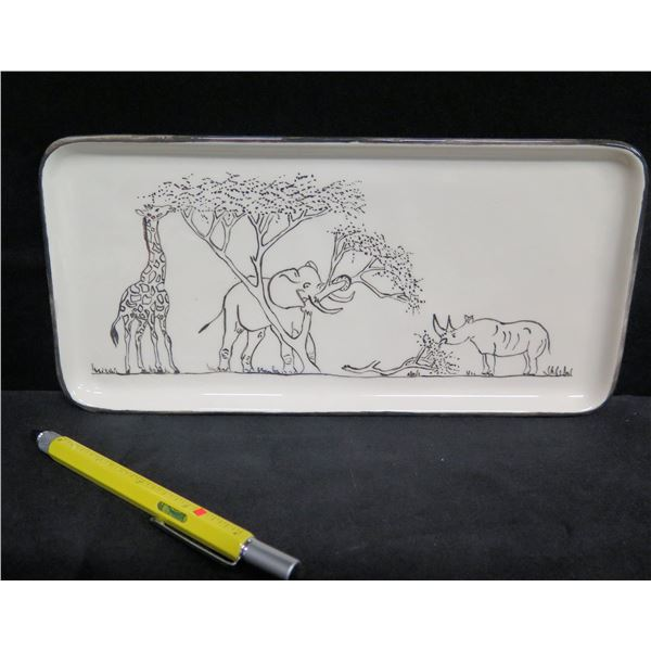 "Rectangle Tray w/ Animal Design, Signed Mbagjis 11""L"