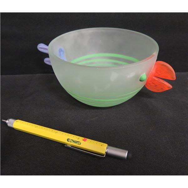 """Chicken Frosted Glass Bowl w/ Beak & Tail  3""""H, Borowski Glass Studio Germany"""