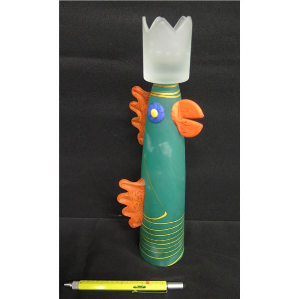 """Chicken Frosted Glass Candleholder 12""""H, Borowski Glass Studio Germany, Signed by Artist"""