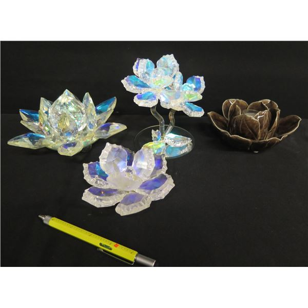 """Qty 3 Faceted Decorative Floral Glass & Brown Ceramic Water Lily Candleholder 3""""H"""