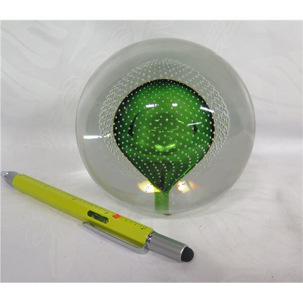 "Green Glass Globe, Art et Selection Bruxelles 'Val Saint Lambert' 4"" Dia."