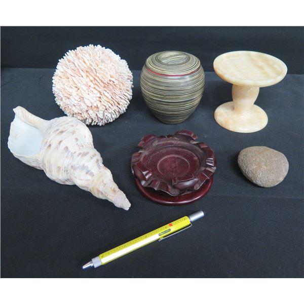 Natural Seashell & Orb, Natural Stone Pedestal Stand, Wooden Stand, Lidded Jar, Rock