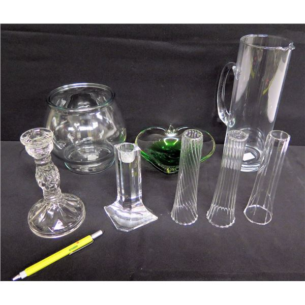 Qty 8 Glass Items: Bud Vases, Candleholder, Tall Pitcher, Heart Dish & Round Vase