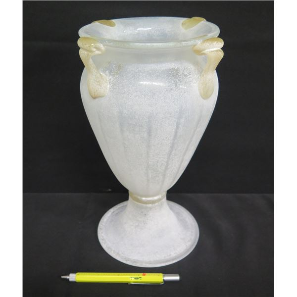 "White Frosted Glass Footed Urn Vase 12""H"