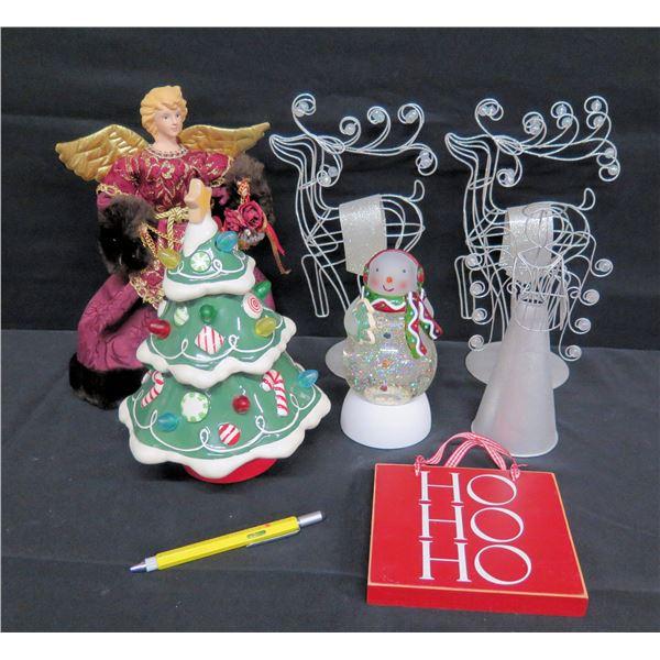 Qty 7 Christmas Theme Objects: 2 Deer, 2 Angels, Christmas Tree, Snow Globe, etc