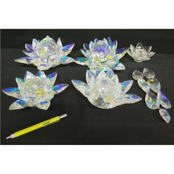 Qty 4 Lead Crystal Colored Water Lilies, Made in Hawaii & Glass Candleholder