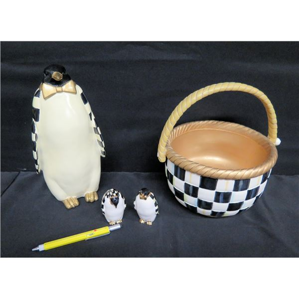 """Qty 3 Penguins 3"""" & 11""""H & Country Checked Basket, Mackenzie Childs (Retail $98) 9""""D"""
