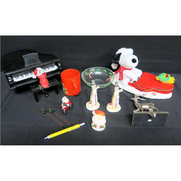 Multiple Christmas Decor: Snoopy, Miniature Piano, Waechtersbach Mug, Snowmen, etc