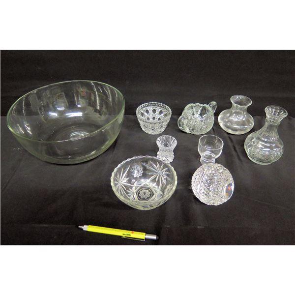 Multiple Cut Glass Bowls, Vases, etc