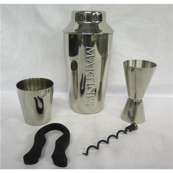 "5-Piece Martini Shaker w/ Jigger, Corkscrew, Strainer, etc. 8""H"