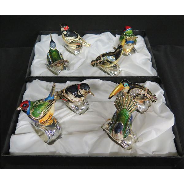 Qty 6 Nieman Marcus Jeweled Bird Napkin Rings
