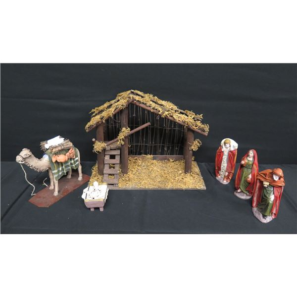 "Puig Barcelona Nativity Scene Manger 12""H & Figurines"