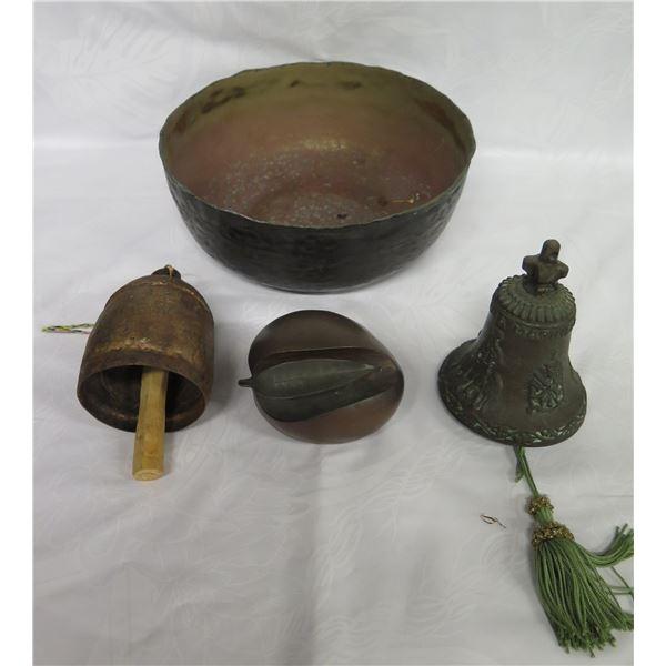 """Qty 3 Vintage Magnon Metal Bells, Fruit & Bowl  9"""" Dia."""