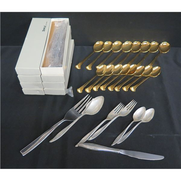 Supreme by Towle Flatware: 16 Gold Tone Spoons & Misc Forks, Spoons & Knife
