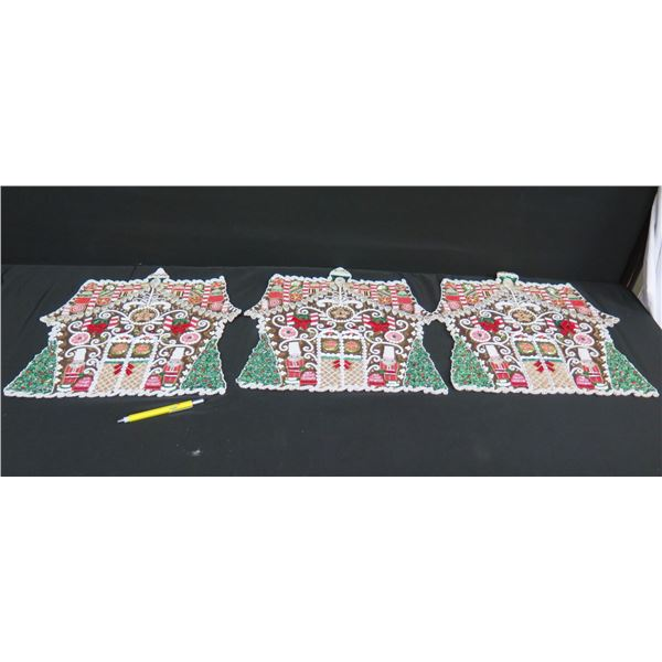 """Qty 3 Beaded & Sequined Kim Seybert Placemats, Made in India 15""""D"""