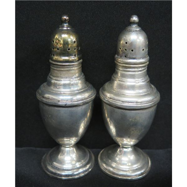 Qty 2 International Sterling Salt & Pepper Shakers, Marked 'Weighted Reinforced' 102-64