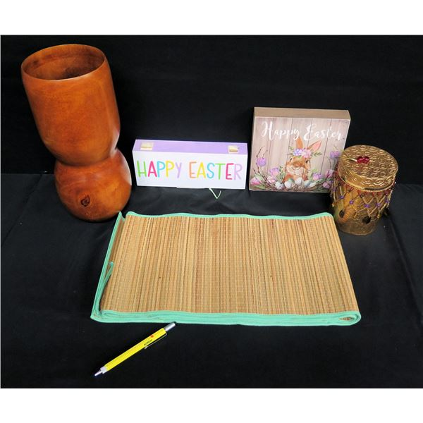 "Tall Wooden Vase (Thailand) 14""H, Easter Décor & Beaded Trinket Box"