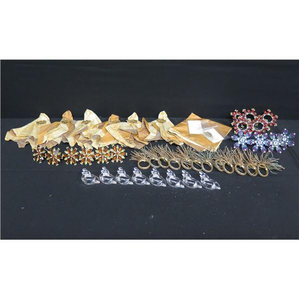 Multiple Napkin Holders & Pins: Angels, Beaded Flowers, Snowflakes, Glass Birds, Silk Napkins