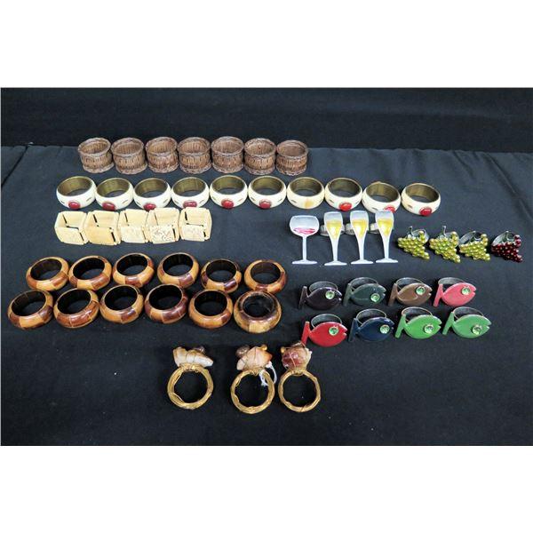 Multiple Napkin Holders: Wood, Enamel, Fish, Champagne Glass, Grapes, etc